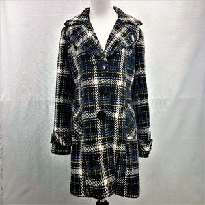 Kensie Colorful Plaid Polyester/Wool Coat Size L